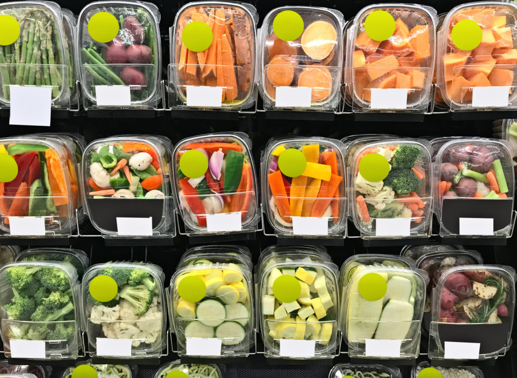 Selection of packaged vegetables