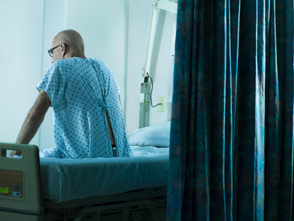 person on hospital bed