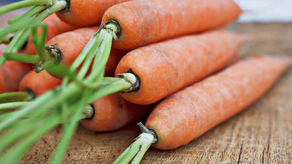 carrots which are full of Vitamin A and may be effective for managing acne