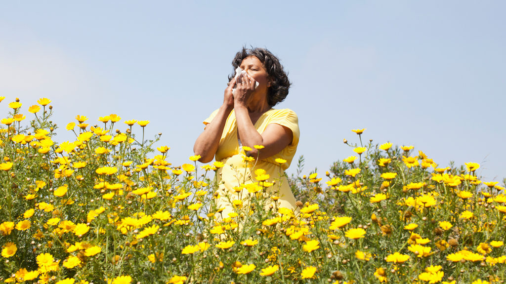 a woman sneezing in a field because she has Spring allergies
