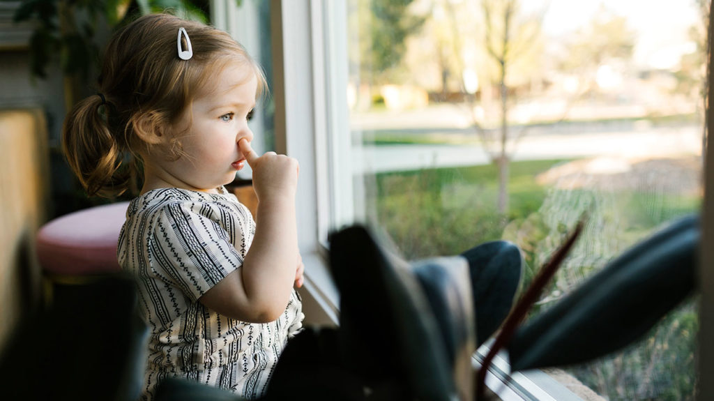 A child is seen picking her nose while looking out a window.