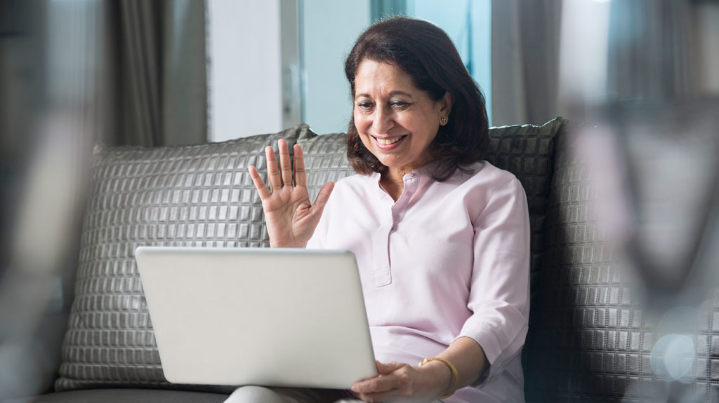 A mature woman participates in the best online therapy session.