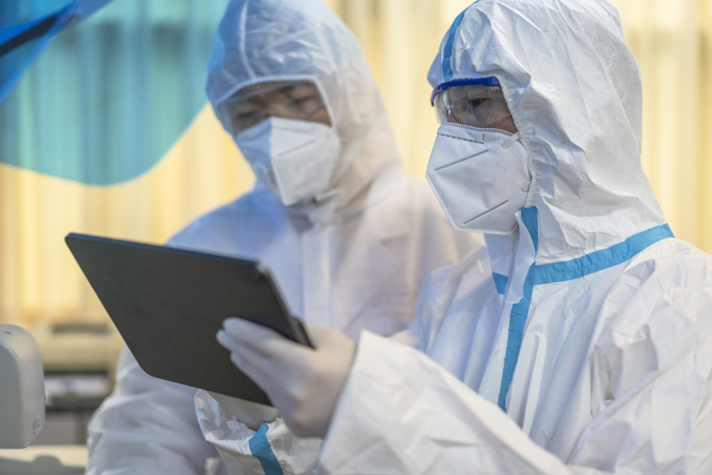 Health workers at hospital wearing PPE