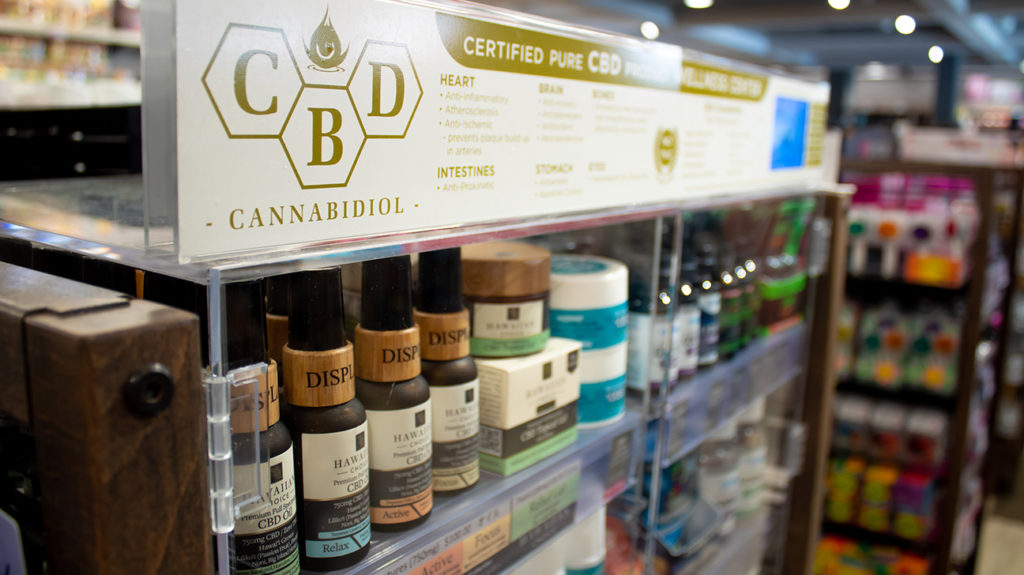 CBD on display in a shop