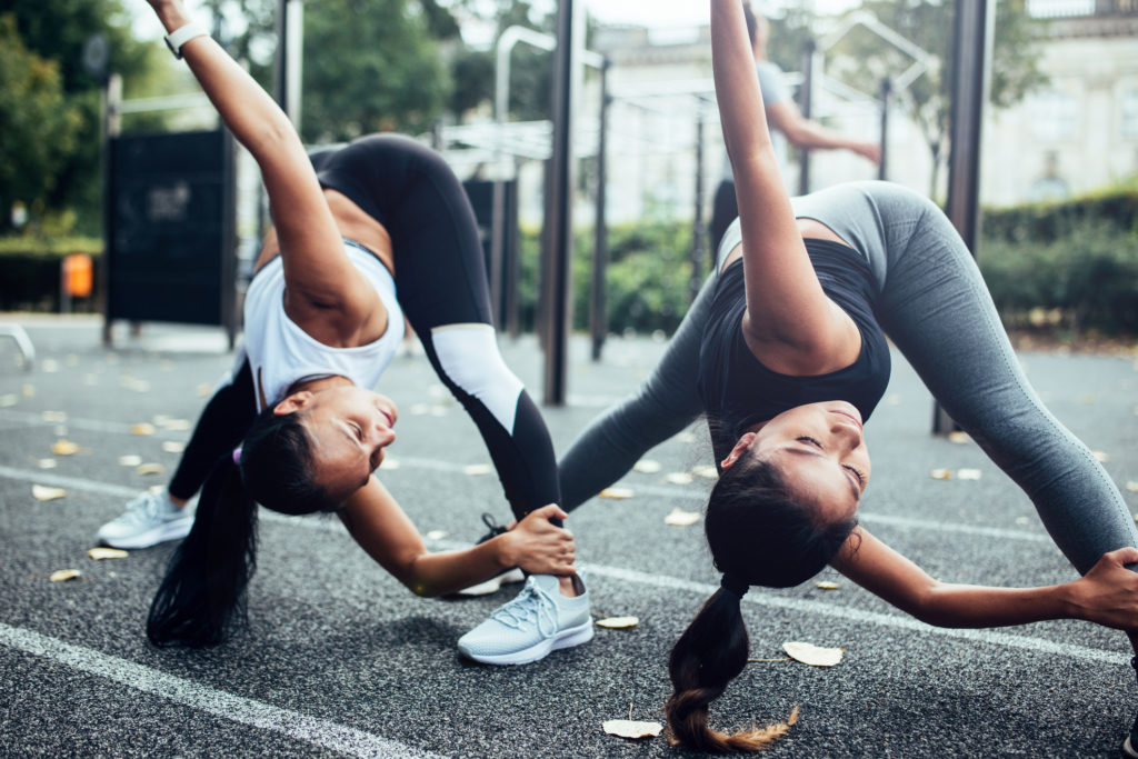 two women exercising