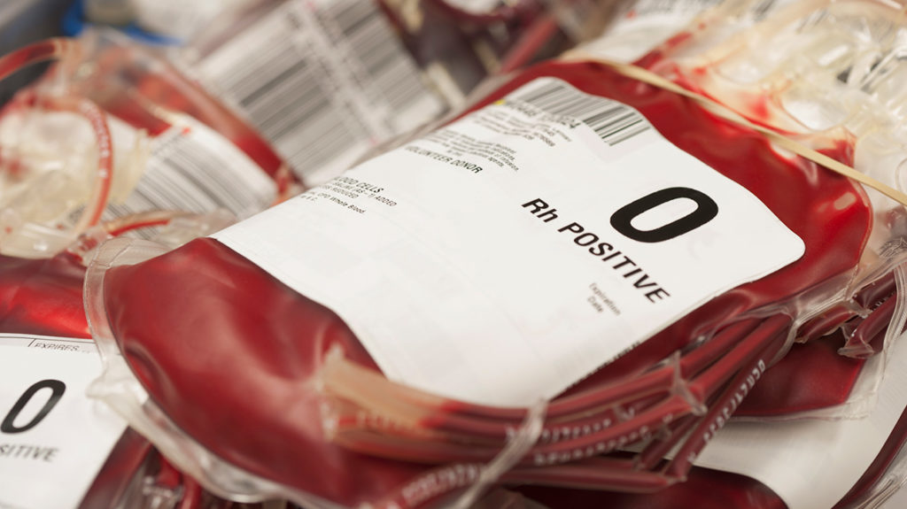 bags of blood which may contain any of the the most common blood type by race