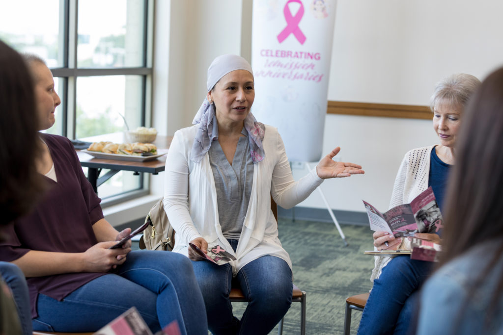 photo of women at breast cancer support meeting