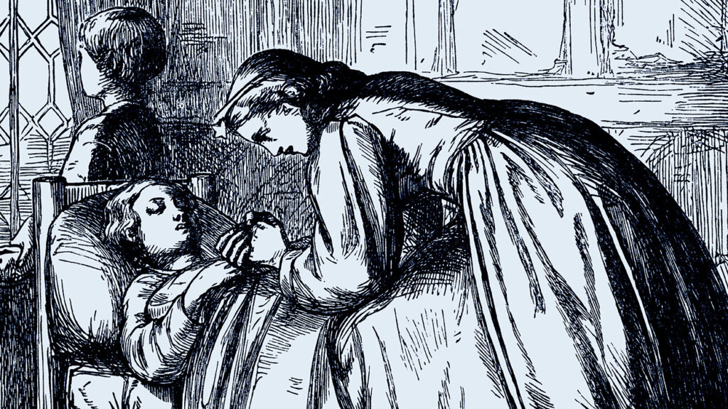 an engraved illustration of a mother attending to a sick child in bed as a way of illustrating Munchausen syndrome by proxy