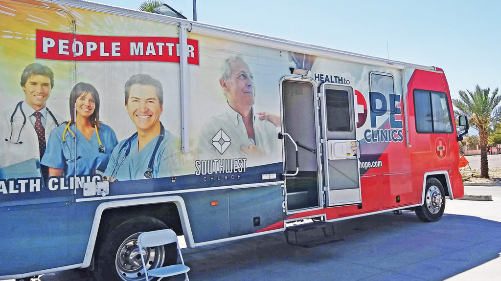 A mobile health clinic that the researchers used.