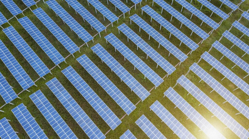 "An image of solar energy panels in a field to accompany the article, ""Weak electric currents could help to combat superbugs."""