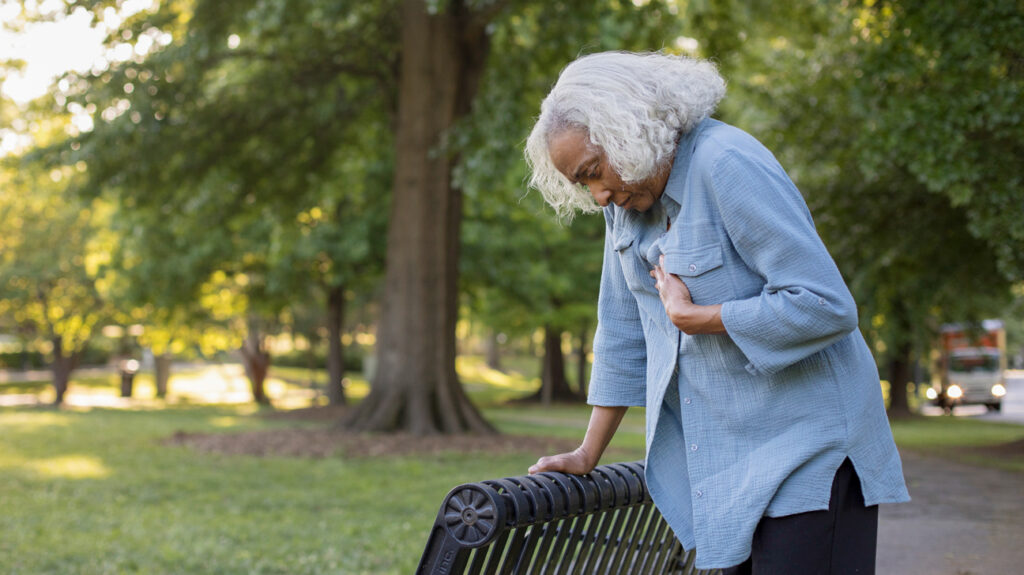 A person experiencing serious chest pains. A person should receive immediate medical attention for chest pain, even if the cause does not turn out to be a heart condition.