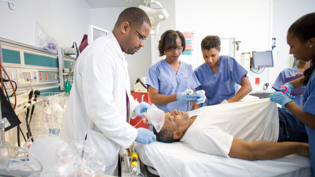 Doctors and nurses in a trauma centre
