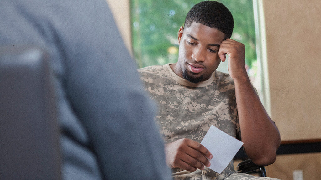 black veteran, male, speaking to therapist