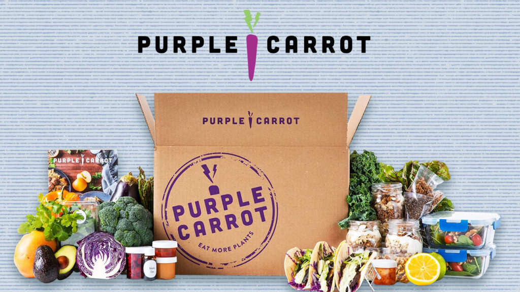 purple carrot box of groceries