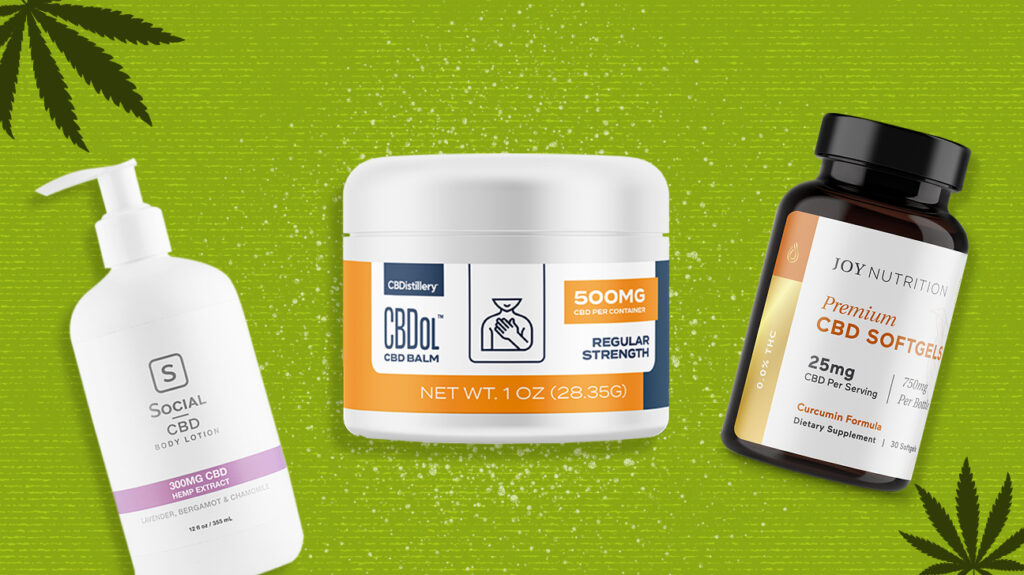 A selection of some of the best CBD products. This image includes softgels, salve, and body lotion.