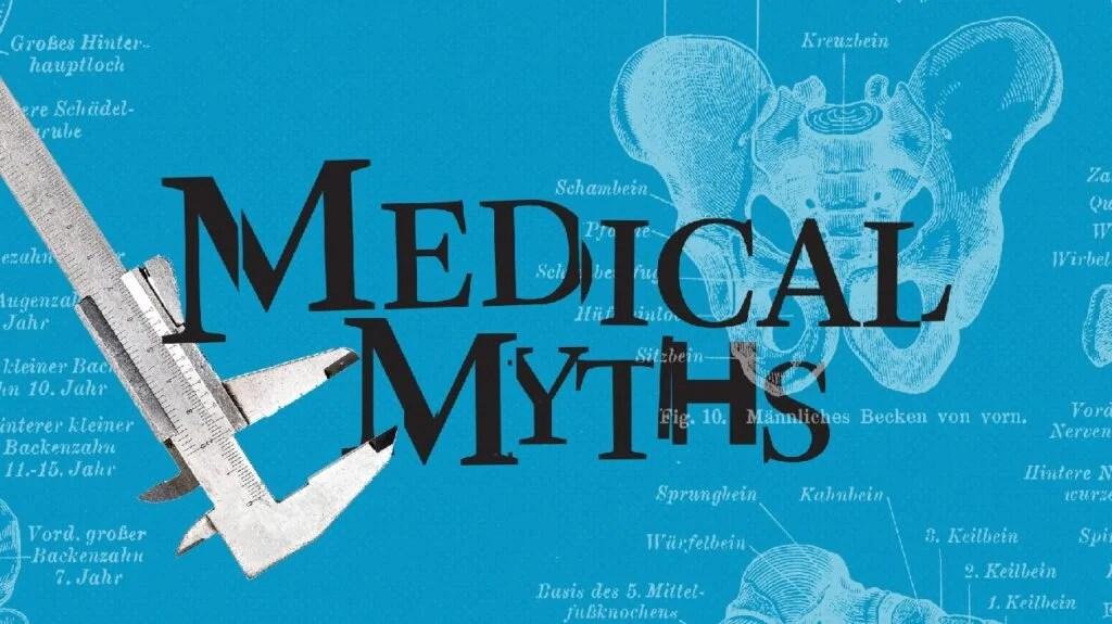 蓝色背景上的医学神话标志