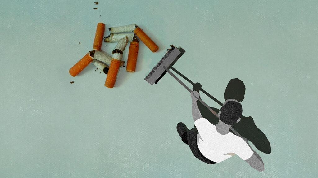 A photoillustration of an illustrated man in black and white sweeping away photographs of cigarette butts to illustrate the concept of quitting smoking cold turkey.