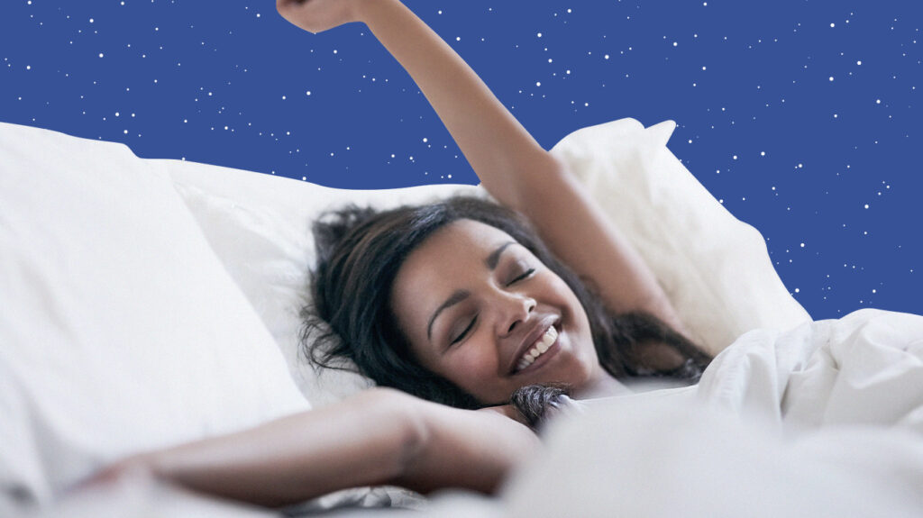 Woman stretching in bed on a plush mattress, overlaid on a starry blue night sky