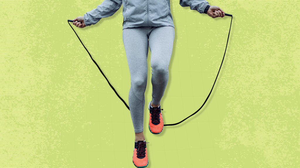 Photo of person from waist down using jump rope, overlaid on green background.