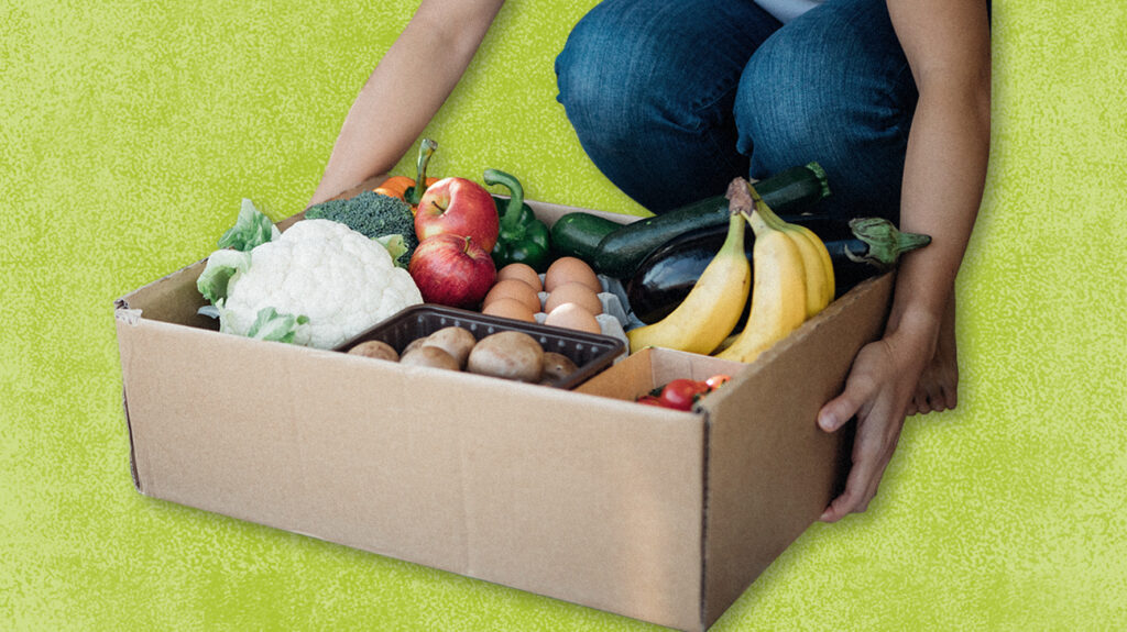 Person kneeling down picking up open box full of fruits and vegetables from cheapest meal delivery service