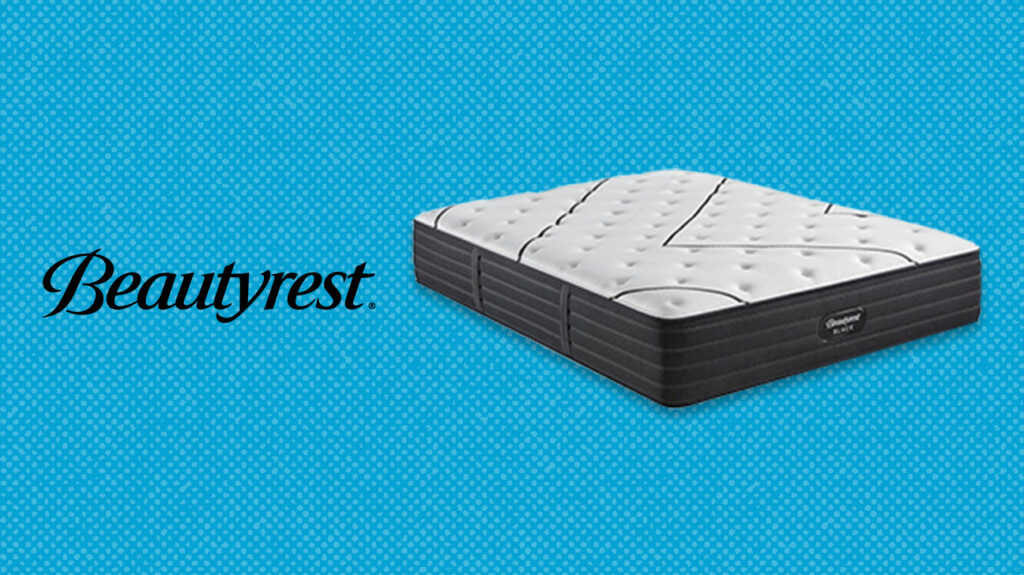 Beautyrest black mattress next to logo over blue background