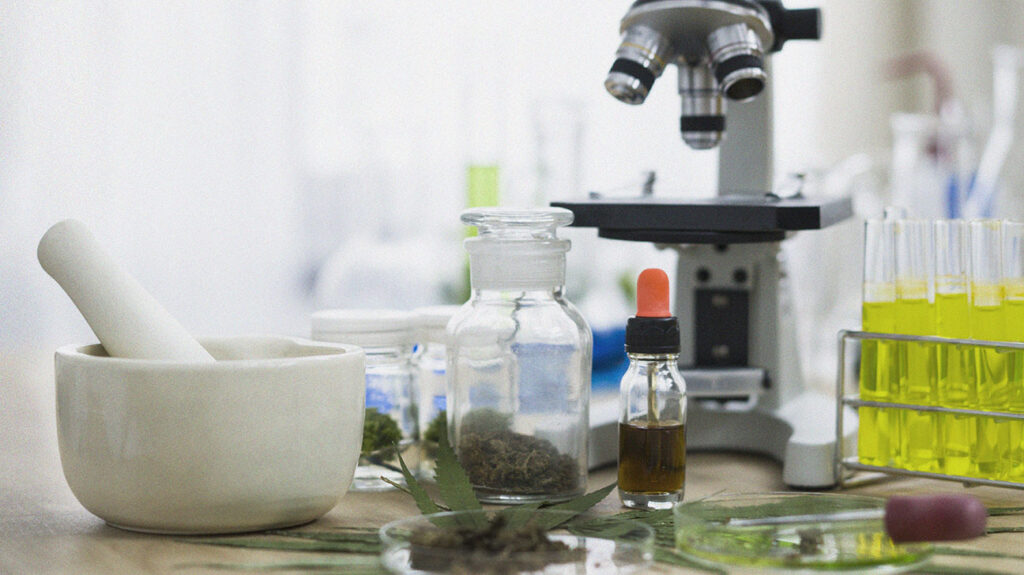 A small bottle of CBD oil in a laboratory