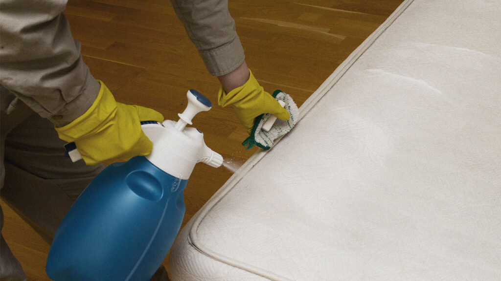 Person with gloves on using spray to clean a memory foam mattress