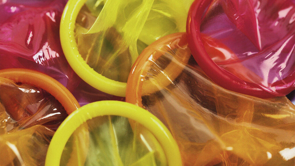 Condoms in a variety of colors.