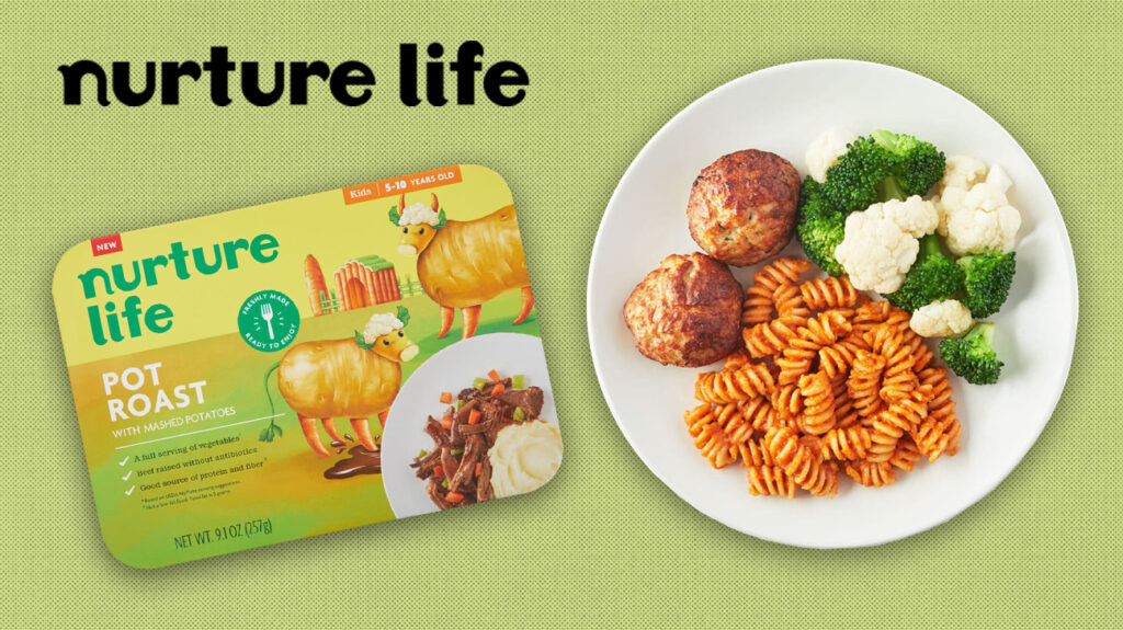 Nurture life logo over pale green background, with isolated image of a meal on a plate and the packaging.