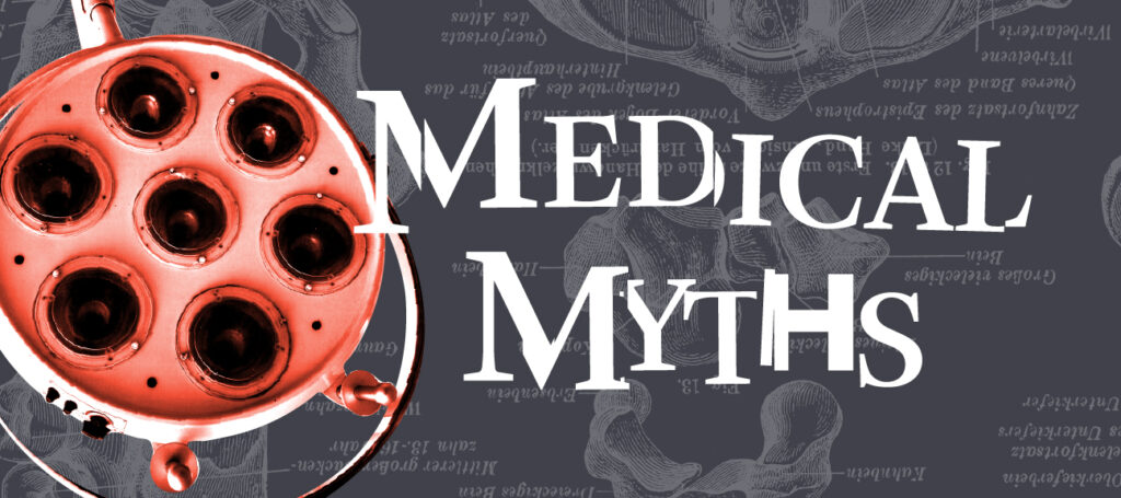 Medical myths logo in black and red