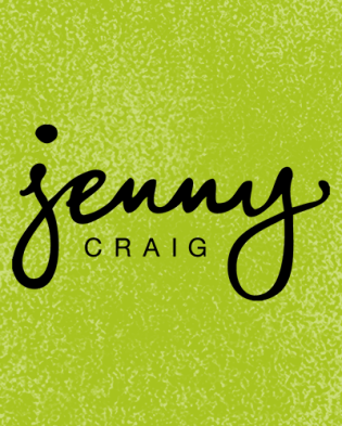 Jenny Craig logo isolated over green background