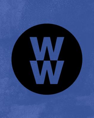 Logo de Weight Watchers sur fond bleu