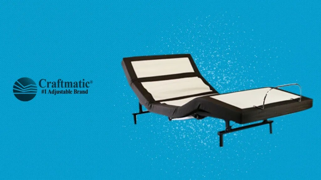 craftmatic adjustable bed on blue background next to logo