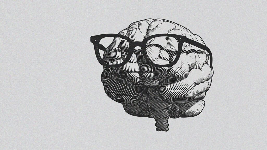 Drawing of a brain wearing glasses