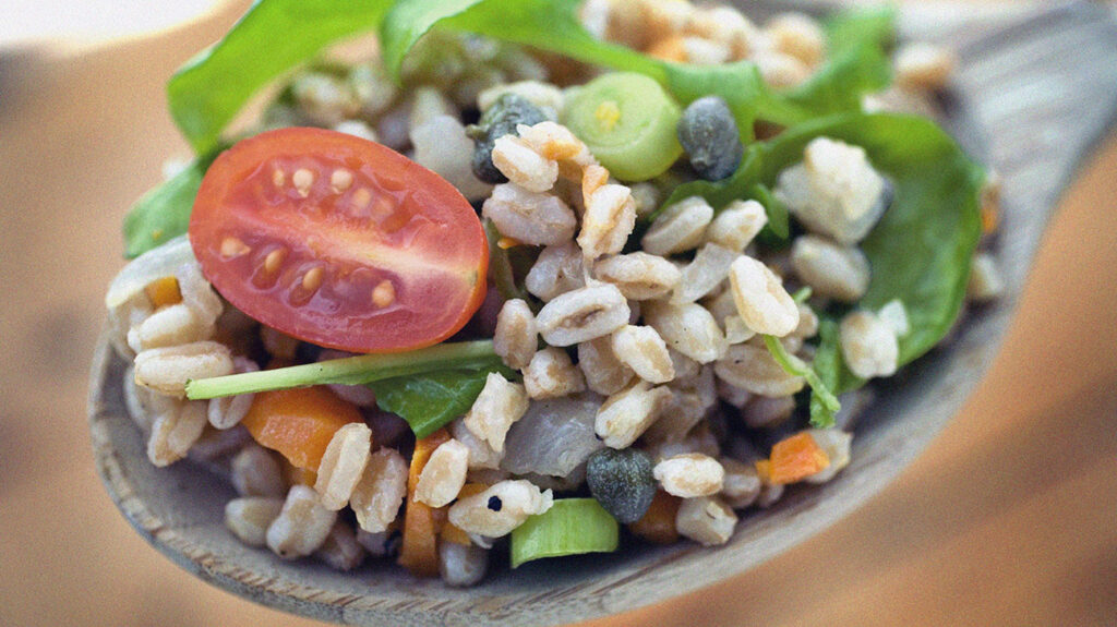 What is farro? a close up of a bowl of farro salad with tomatoes