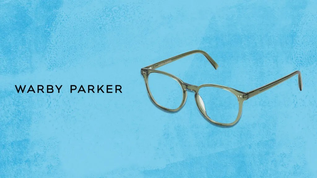 Warby parker glasses next to logo over blue background