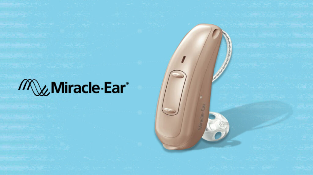 Miracle ear hearing aid over blue background next to miracle ear logo