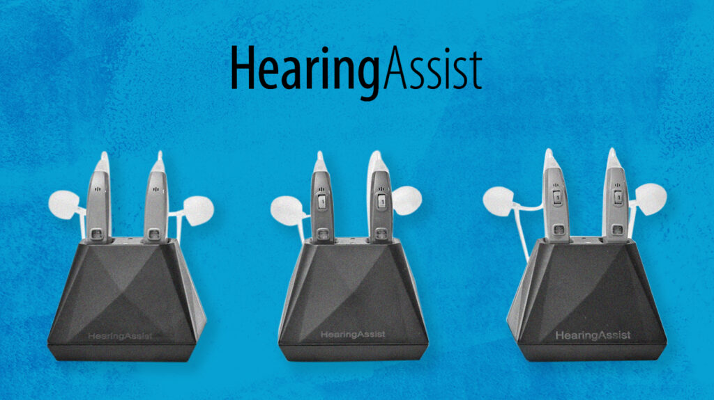 Hearing assist logo over blue background with isolated hearing aid product images