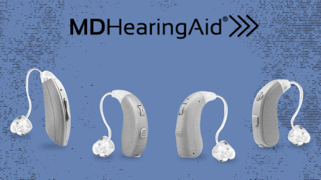 MDHearingAids isolated over blue background with brand logo