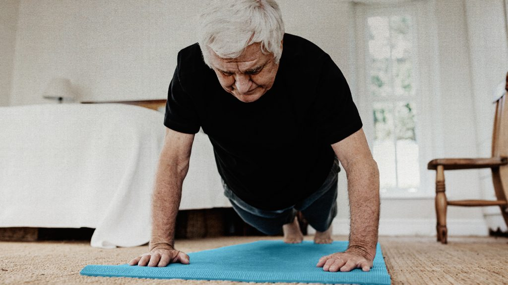 A male who may have COPD performing a plank for exercise.