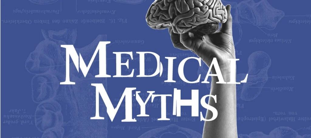 Logo mitos medis berlatar belakang ungu dengan seseorang memegang model otak