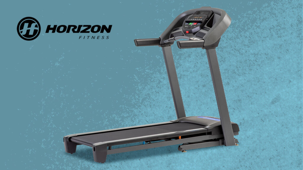 Horizon treadmill on blue speckled background next to logo