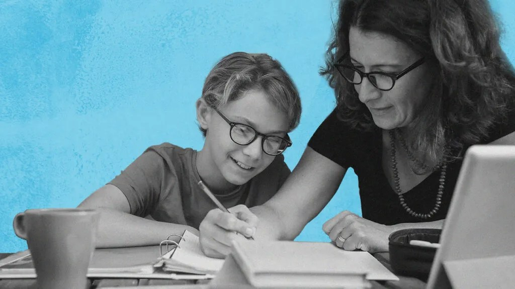Black and white photo of adult helping child with homework, both wearin Walmart optical glasses, isolated over light blue background