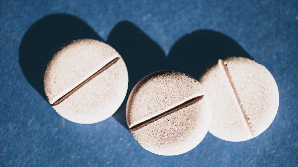 Close up of zinc supplements