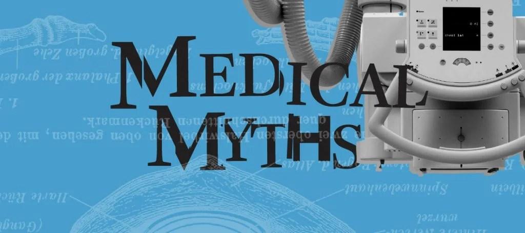 医疗神话蓝色标志与医院设备