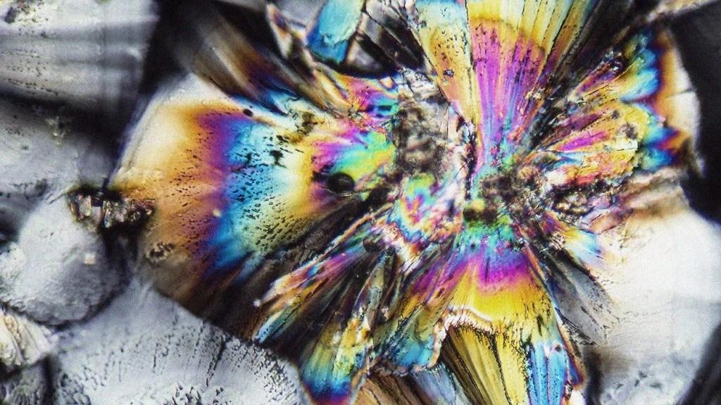 微观射击显示用偏光光照亮的镀锌剂的微晶体