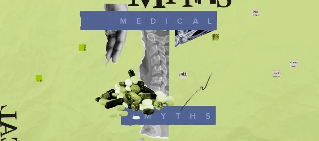 医学神话标志与旋转x射线和药丸