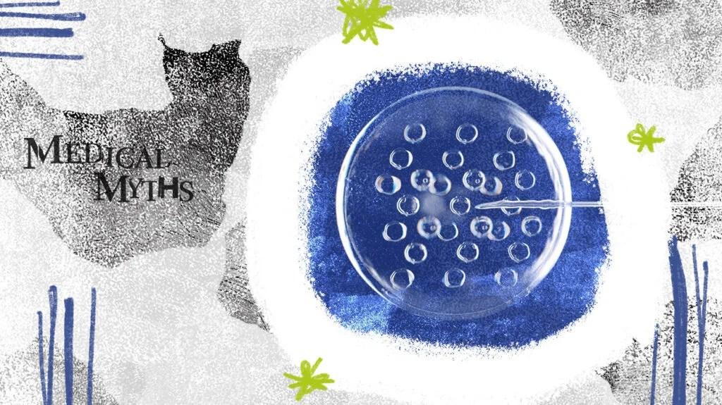 医学神话图像在蓝和灰与皮氏培养皿