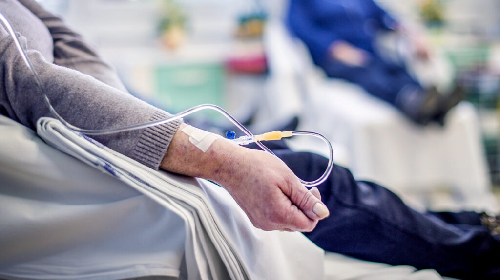 A person undergoing chemotherapy.