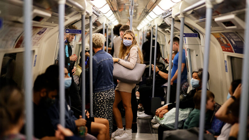 Passengers on the Jubilee line of the London Underground on August 9, 2021
